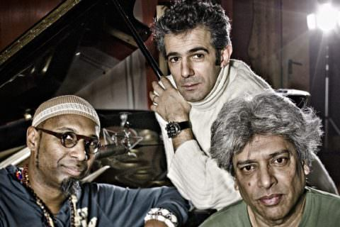 Paolo Fresu, Trilok Gurtu, Omar Sosa (ph Massimo Mantovani)
